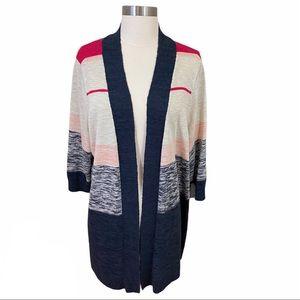 Torrid Striped Pink Blue Open Knit Cardigan 2X